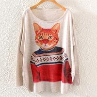 Autumn 2014 new women's European and American fashion round neck sweatshirt Casual bat sleeve hoodies lovely cat printing