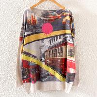 2014 Hitz European and American printing round neck sweatshirt Casual women's long-sleeved hoody lovely