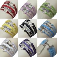 Alloy Bracelet withLove 8Anchor Owl Patterns Cross Hand Woven Bracelet #D2