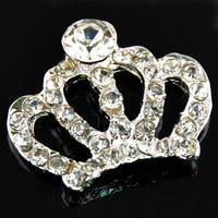 Wholesale 30mm*25mm Rhinestone Crown Button Flatback Embellishment For Wedding Accessories 20pcs/lot PJB25