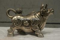Chinese Folk Culture Handmade Old Bronze Silver Statue Lucky Cow OX Sculpture Tibetan crafts gift Copper Bronze Statue