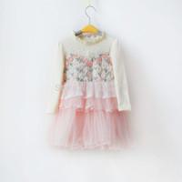 New 2014 autumn baby girls dress girls clothes cotton ball gown dress kids dress bow lace princess clothes  vestidos de menina