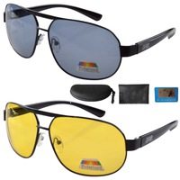 Free shipping S3840 Aviator Polarized Sunglasses Night Vision Driving Glasses Include Case Mix(1 of each color)