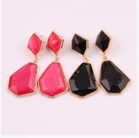 Free Shipping Fashion Acrylic Gem Geometrical Shape Earrings 6pcs/lot