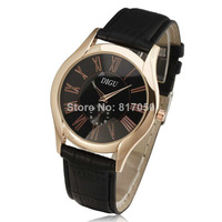 2014 fashion watches men luxury brand movement classic gold case roman dial leather strap quartz retro relogios masculinos