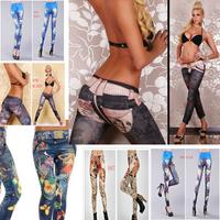 2014 Sales promotion 22 Punk styles Printing tattoo Leggings Women Stretchy Skinny Legging Pants Free size