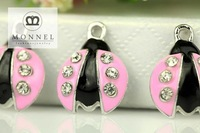 H2331 MONNEL Adorable 100 pcs Cute Pink Ladybug Charm Pendant