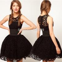 HaoduoyiCourt style wide belt decorated black lace tutu skirt vest