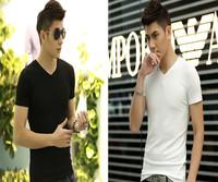 Men's clothing summer white V-neck male short-sleeve T-shirt male short-sleeve 100% cotton solid color slim basic shirt