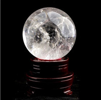 Natural polished white crystal quartz sphere ball feng shui crystal ball nunatak lucky decoration 50MM with stand free shipping