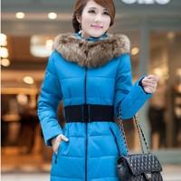 Women's cotton-padded jacket winter female medium-long slim wadded jacket women's clothing female outerwear