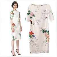 Top Brand Fashion  2014 Print Cheongsam One-piece Dress Short-sleeve  Evening Dress XZR01