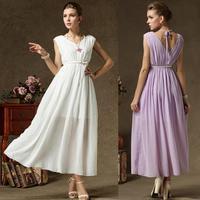Summer New 2014 Open Back Double V Neck Slim Wait Maxi Long Chiffon Dress Ladies Sleeveless Tank Dress Fashion Women Clothing L