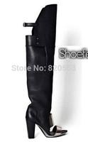 Free Shipping New 2013 Women's Leather High Heel Gladiator Sandals Designer knee length square heel summer sandal boot