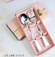 Free shipping 400pcs=200sets/lot Holiday Supplies stainless steel tableware Heart Love fork Spoon Souvenirs Wedding & Events