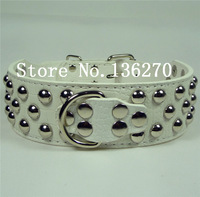 Leather Studded Large Dog Collar Pet Collar Free Shipping white S M L