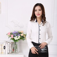 New 2014 Spring Autumn Formal Shirts Women Work Blouses Formal OL Ladies Office Uniform Shirts Blusas Femininas White