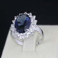 1pcs/lot New 18K White Gold Plated Blue Crystal Classic ring For Women Free Shipping