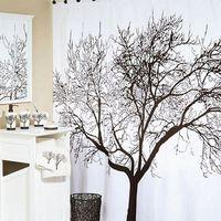 New Stylish Black Scenery Tree Design Bathroom Waterproof Fabric Shower Curtain