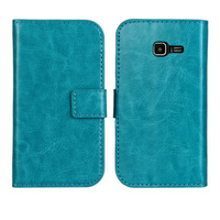 100pcs/lot Crazy Horse Wallet Leather Card Slot Case For Samsung Galaxy Trend Lite S7390 S7392 with Stand