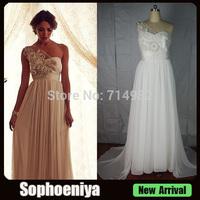 WD045 Free Shipping Real Latest Chiffon One Shoulder Casamento  Anna Campbell  Wedding Dresses 2014  Vestidos De Novia