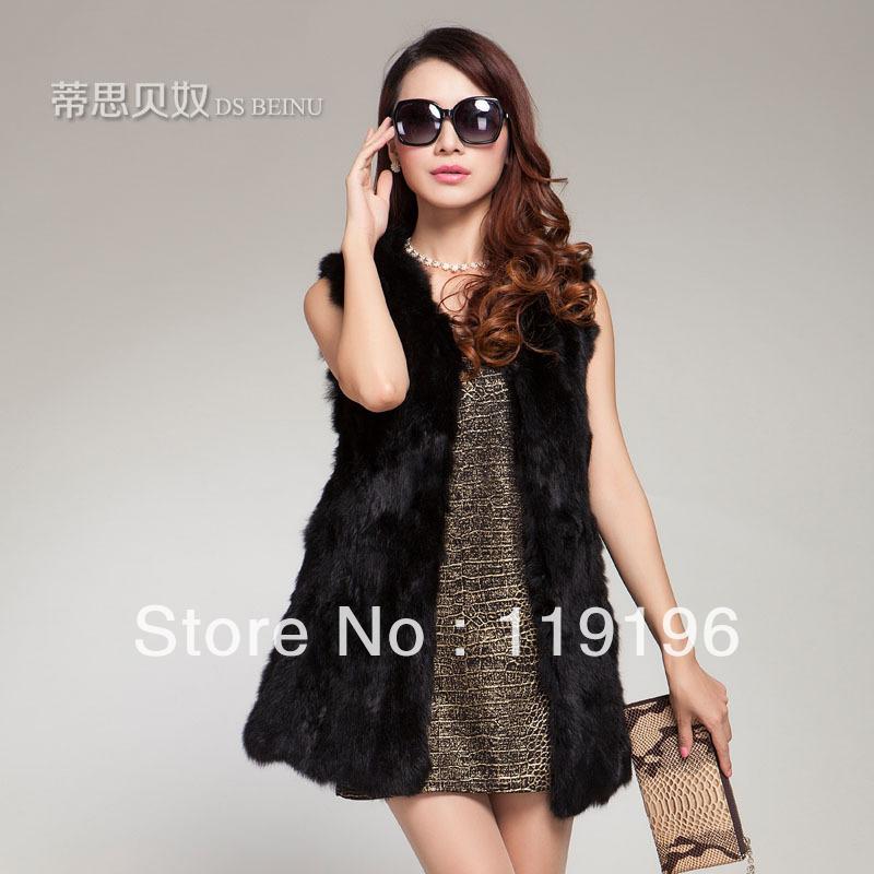 2014 freeshipping women's medium-long rabbit fur vest rabbit fur outerwear fur vest fur coat(China (Mainland))