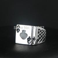 1pcs/lot New White gold Plated Women Mens Unisex poker ring Free Shipping