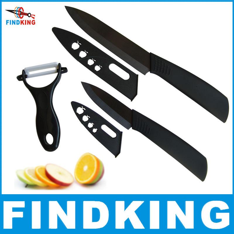 FINDKING Super quality black blade 3pcs Gift Set 3 inch+5 inch+peeler +covers Ceramic Knife Sets Kitchen Knife!(China (Mainland))