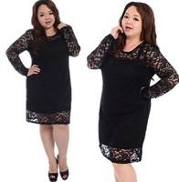 2014 Hot Big Size Lace Elegant Dress Fat women Clothing Female Plus Size Long Sleeve Dresses High Quality Lady Large Clothes