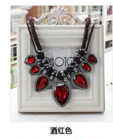 Free shipping New Wine red  necklace women sweater chain Jewellry Hot Wholesales Flower Pendant Choker necklace