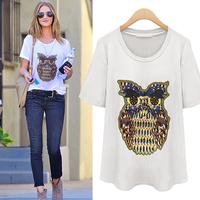 (WTT001) Fashion  Loose 100% Cotton White T-Shirt Short-sleeve Female Owl Printing T-shirt Summer Plus Size Clothing