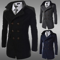 2014 Autumn Winter Mens Woolen Trench Coat Stand Collar Double Breasted Warm Slim Fit Brand Jacket Overcoat Free Shipping ZF31