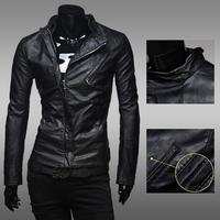 New 2014 men 's zipper leather jackets men joker cultivate one' s morality men 's fur coat / male pu jacket ZPY21
