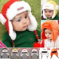 Hot ! Free Shipping ! Children Plush Winter Hat Earflap Baby Boy/Girl Pilot Cap Flight Hats Baby Winter Warm Hat 1pcs MZD-032