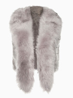 2014 Winter Women Gray Faux Fur Waistcoat Vest Jacket with Scarf Lapel Collar One Size Fits All - Junior Size (XS-L)