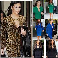 Women Summer Long Sleeve Size S,M,L,XL,XXL Evening Vintage Club Sexy Bodycon Party Formal Dress Leopard Print Dresses WD011