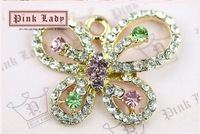 H75 MONNEL Cute 3pcs Crystal Butterfly Charm Pendant