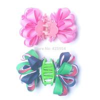Children Hair Accessories Ribbon Bow Flowers Hair Clips for Girls Headwear Hairpin Clip Hair Baby Claw clip 12 pcs/lot