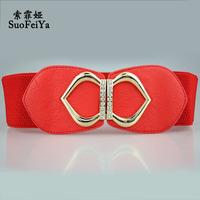 2014 Fashion women belt rhinestone love heart  wide elastic belt trendy belt ladies waistband Femal ceinture Free shipping