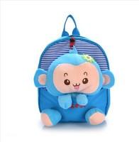 Kindergarten children shoulders back schoolbag monkey cloth bag pupil schoolbag cute animal double dorsal soft bag