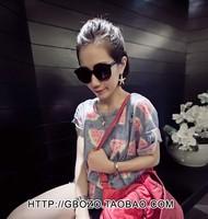 New 2014 Summer Women Korean Cotton 3 D  Watermelon Print Hole O-neck Short Sleeve Loose Tops girl t shirt women Free Shipping