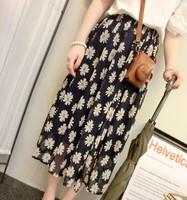 New 2014 Summer Korean  Skirts womens skirt  All-match Chiffon Retro Sun Flowers Women Skirts Casual Long Skirts Free Shipping