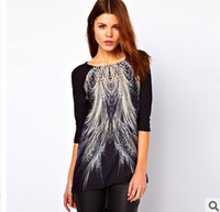 [Factory outlets] Hitz European and American trade peacock tail loose T-shirt for women wholesale ladies t-shirt