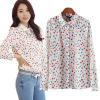 Autumn New Women's Blouse Woman Sheer Shirt See-Through Cherry Print Pattern Notched Collar Long Sleeve Regular Tops