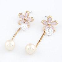 Fashion Elegant Crystal Enamel Flower Stud Earring Women Pearl Earring