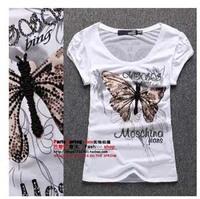 2014 Summer New Diamond Butterfly Painted Gauze Puff Sleeve Printing T-shirt Slim Female Short Models Popular  Fashion