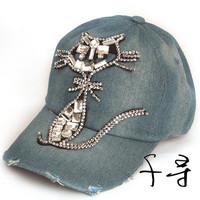 2014 Hip Hop Baseball Caps Denim Adjustable Bone Cap Leisure Rhinestones Jean Women Snapback CAPS Women Fashion Cat Hats