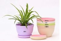 Free shipping flower planter pots with tray plastic Environmentally degradable bonsai pot mix color big size 18*12cm