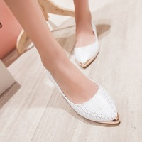 2014 autumn new exquisite European flats shoes patent pu with pointed shoes plaid sequins for women