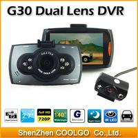 G30 Allwinner Chipset Dual lens Car DVR Camera HD 1080P 130 Degree Angle lens With G-sensor Car Camcorder Black Box